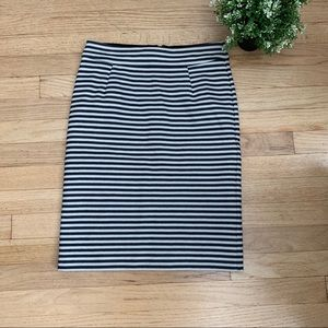 Banana Republic striped pencil skirt black ivory 0